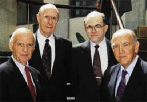 NASPE's Founders: (Left to Right) Victor Parsonnet, MD, FHRS, CCDS; J. Warren Harthorne, MD, FHRS, CCDS; Seymour Furman, MD, FHRS, CCDS; and Dryden P. Morse, MD.